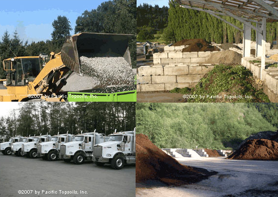 Images representative of PTI Services, Landscape Materials, Trucking Services, Aggregates, Yard Waste Recycling